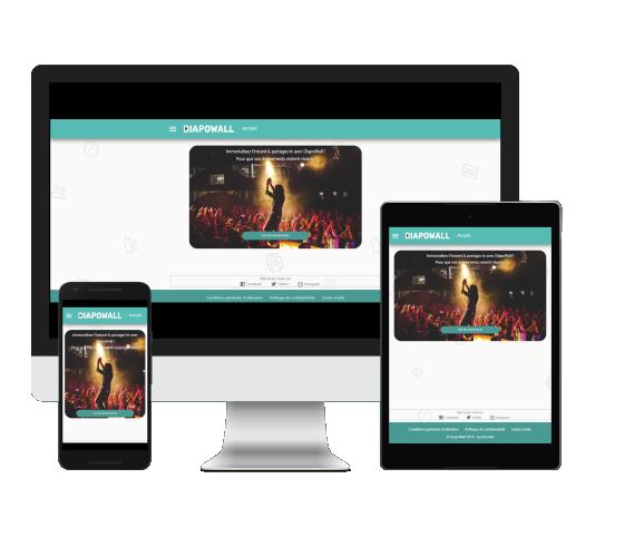 mise-en-situation-page-accueil-app.diapowall.com-sur-multiples-écrans-écran-pc-écran-tablette-et-écran-portable-responsive-design